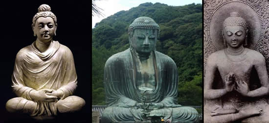 Three different images of Buddha