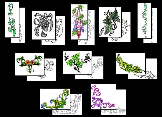 Size:100x100 - 3k: Flower Vine Tattoos