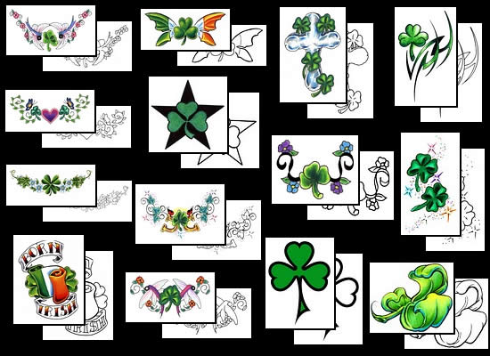 four leaf clover tattoo designs. Related topics: Four Leaf Clover Tattoo stock photo : Shamrock Tattoo Design