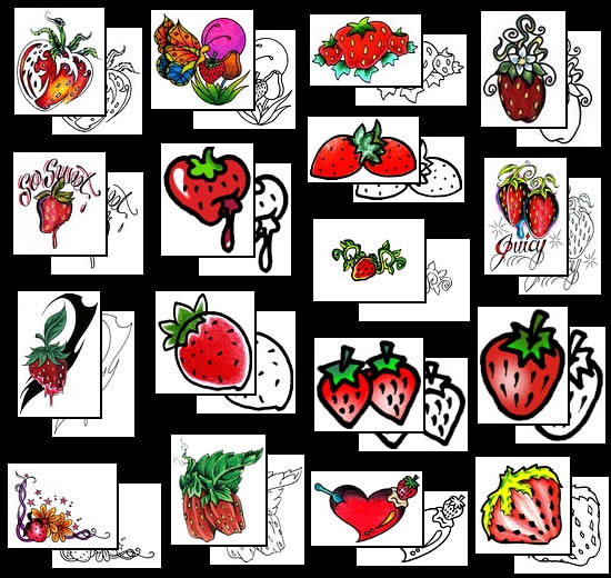 strawberry tattoo pictures
