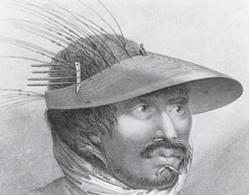 Unangan man of Unalaska Island, 1778 - showing detail of labrets