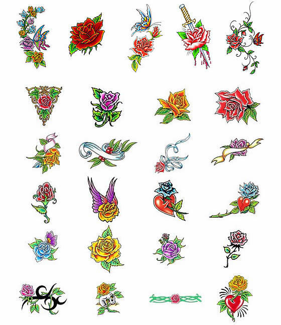 Choose your rose tattoo design from over 2100 different rose tattoo ...