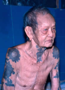 Maung was the last Iban tattoo artist of the Skrang River, Sarawak, Borneo