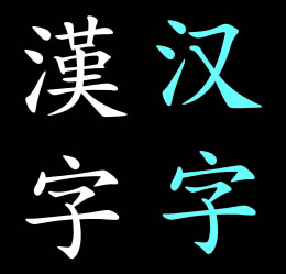 Traditional and simplified Chinese characters