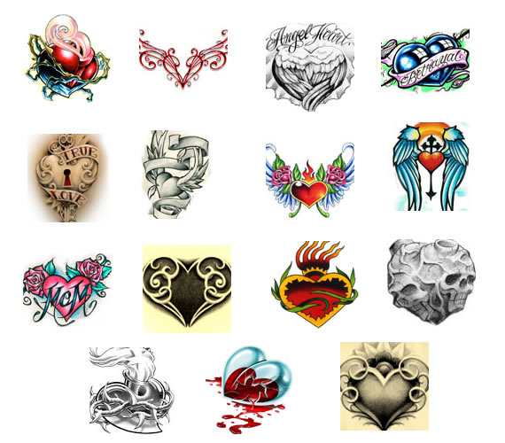 Heart tattoo designs from Bullseye Tattoos