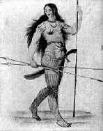 Pictish woman showing body covered with tattoos