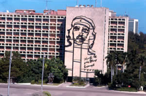 "Political art and murals are everywhere in Havana. The Ché Guevara building mural proclaims, ""Until victory always."""