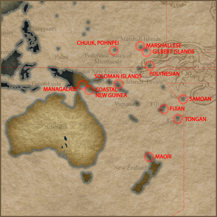 Tattoo Map of Oceania