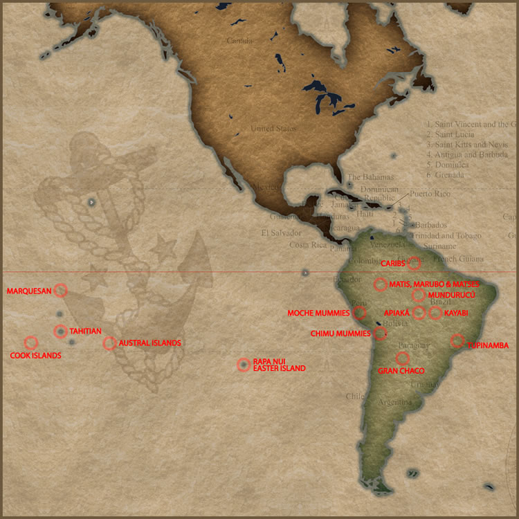 Tattoo History Map of South America and Eastern Oceania